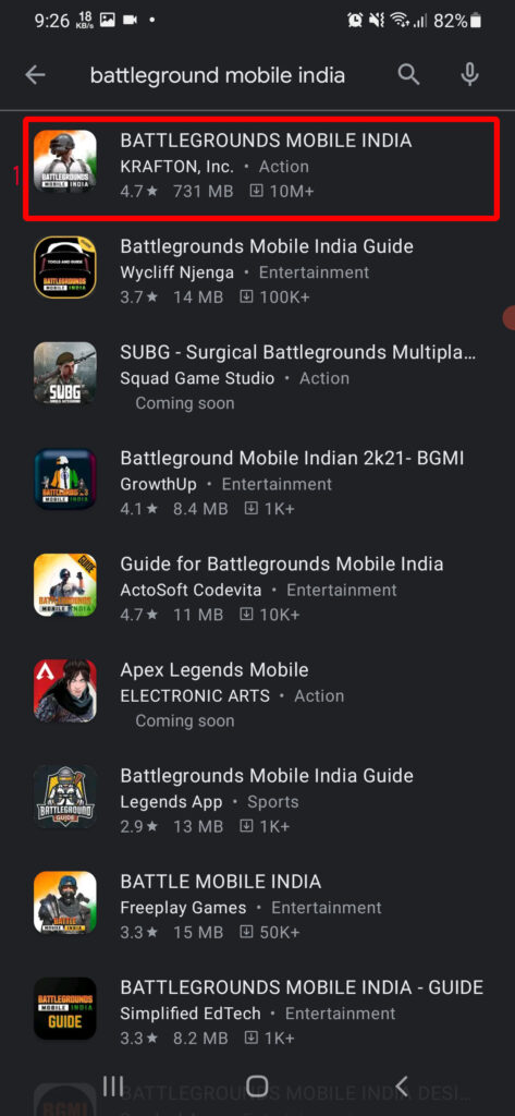 Download Battle Grounds Mobile India from other countries